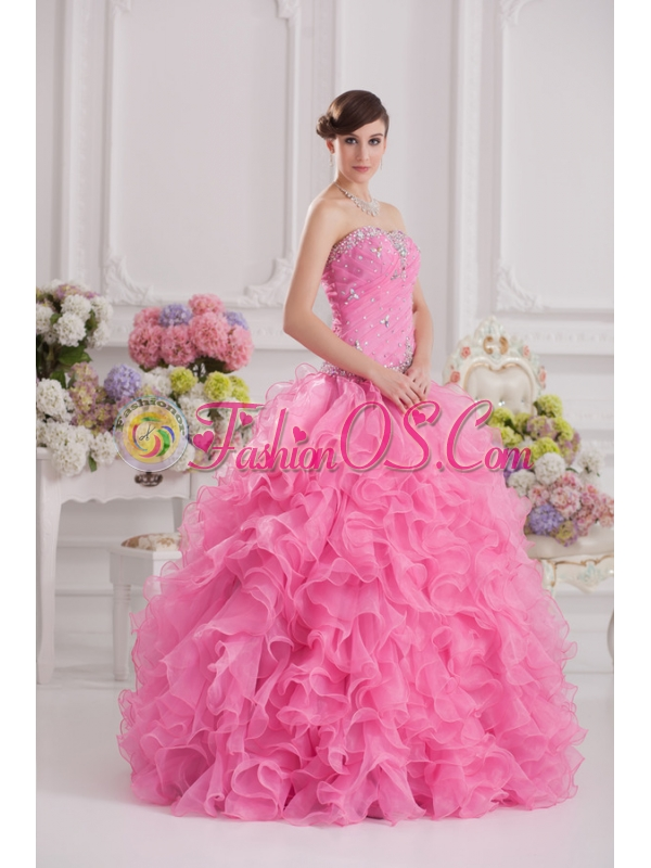 Ball Gown Sweetheart Organza Beading Ruffles Rose Pink Quinceanera Dress