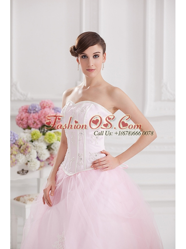 Ball Gown Sweetheart Tulle Baby Pink 2014 Quinceanera Dress with Appliques Beading