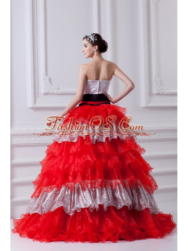 Elegant Princess Strapless Beading Ruflled Layers Red Quinceanera Dress in 2014