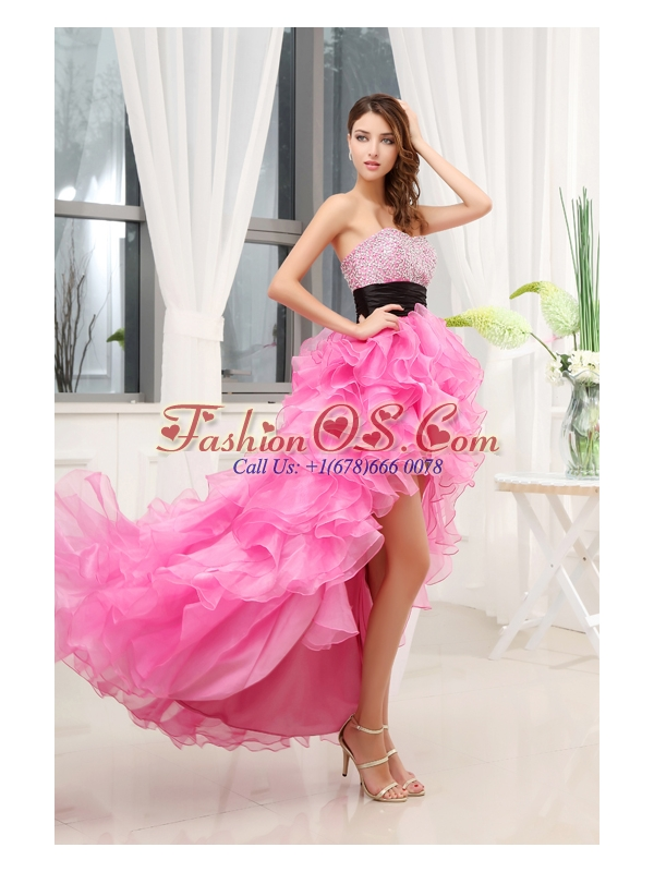 Hot Pink Strapless Belt Beading Ruffles High-Low Organza Prom Dress for 2014