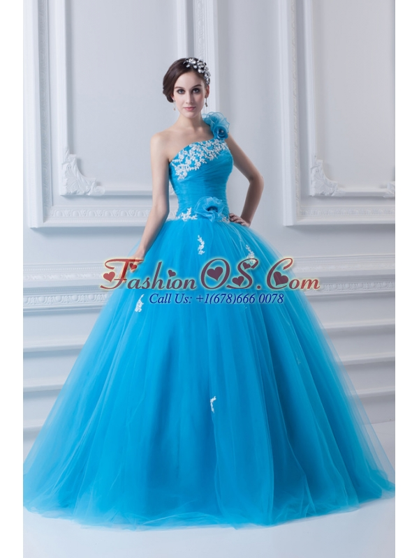 Princess One Shoulder Appliques Sky Blue 2014 Quinceanera Dress