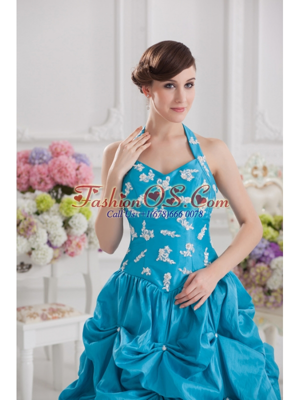 Princess Taffeta Appliques Ruffles Teal Quinceanera Dress with Halter Top