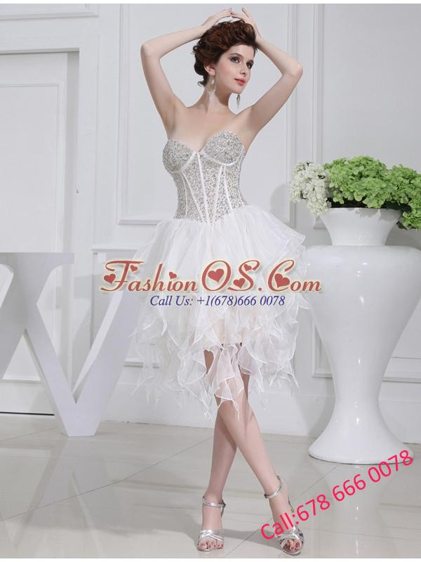 2014 A-line Sweetheart Sequins Ruffles Wedding Dress With Knee-length