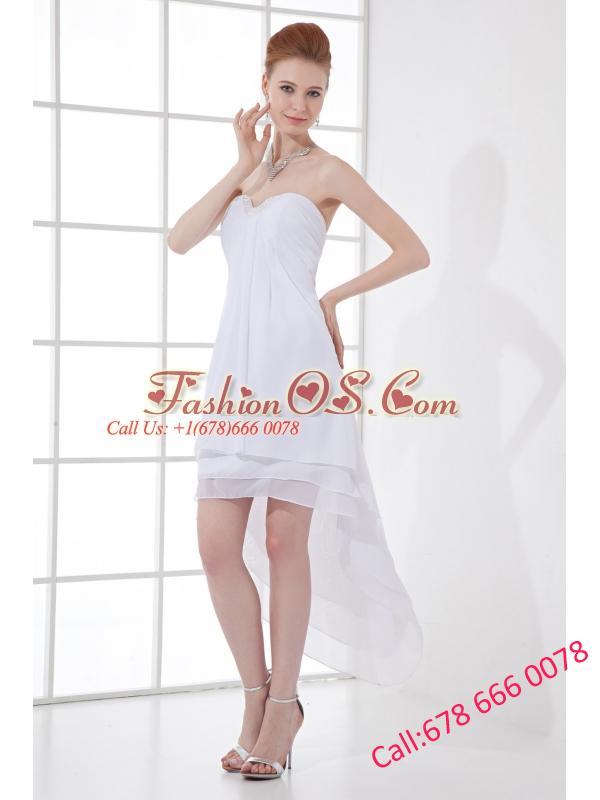 2014 Cheap A-line High-low Ruching Organza Strapless Wedding Dress