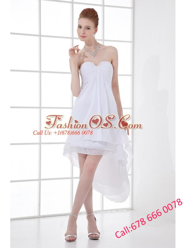 2014 Cheap A-line High-low Ruching Organza Strapless Wedding Dress