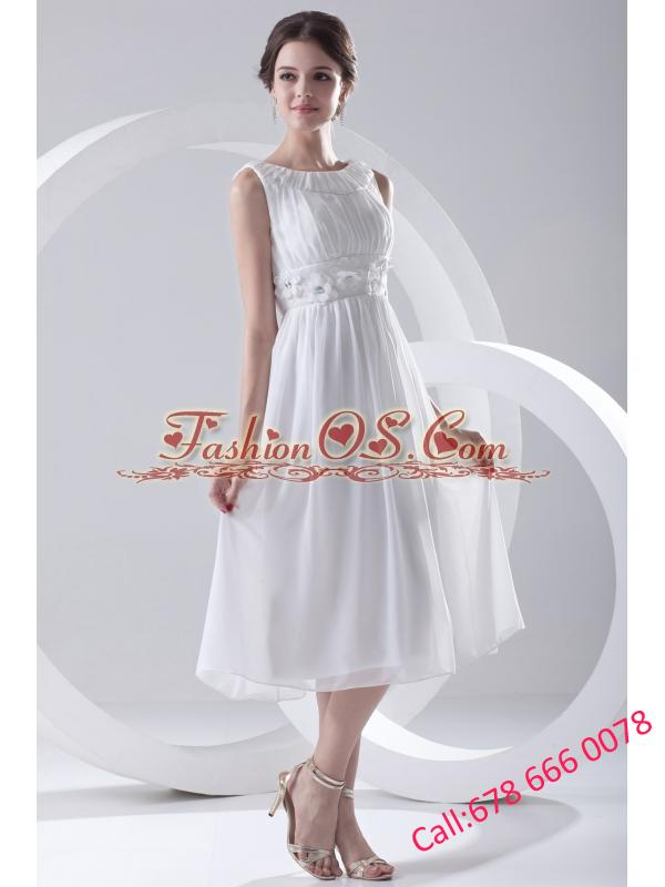 2014 Cheap Empire Scoop Tea-length Appliques Chiffon Wedding Dress