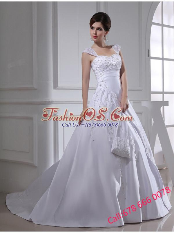 2014 Discount A-line Square Beading and Appliques Wedding Dress