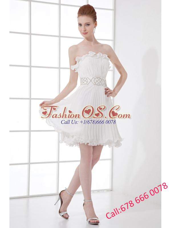 2014 Elegant Column Strapless Mini-length Beading Pleats Wedding Dress