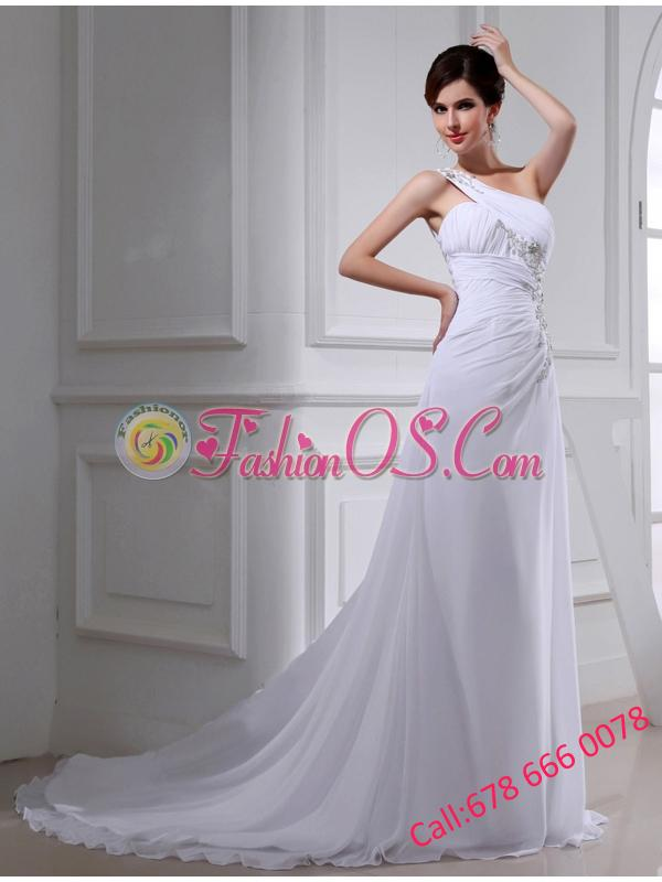 2014 Elegant Coulmn One Shoulder Wedding Dress with Appliques