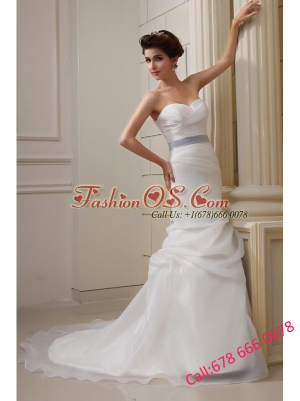 2014 Elegant Mermaid Sweetheart Belt Ruching Pick-ups Wedding Dress with Side Zipper