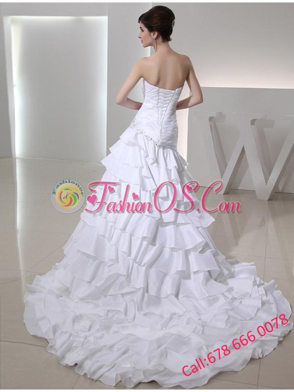 2014 Mermaid Sweetheart Taffeta Wedding Dress with  Ruching Ruffled Layers