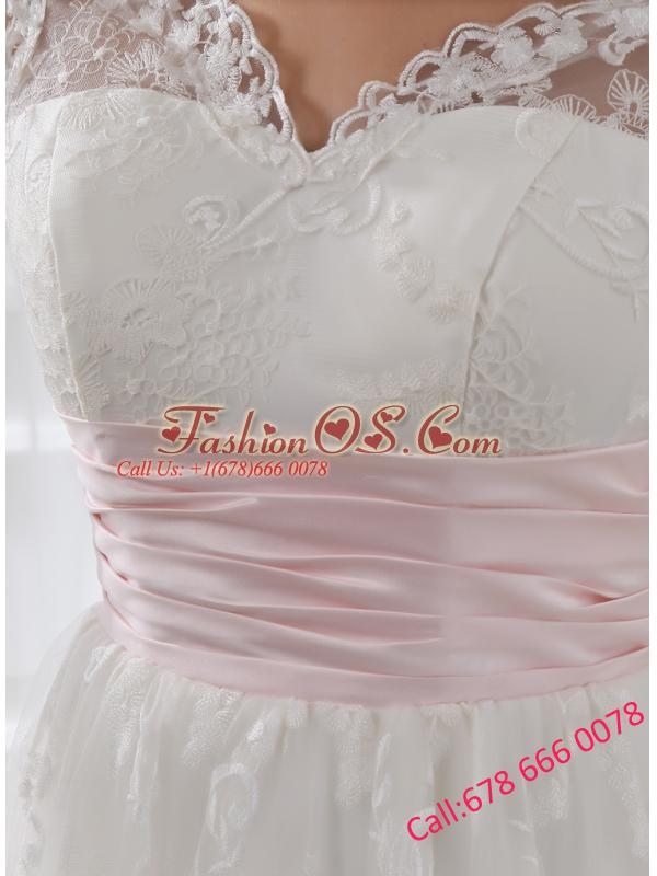 2014 Short A-line Straps Knee-length Wedding Dress with Lace Belt
