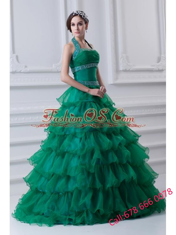 2014 Spring A-line Hater Top Beading and Appliques Green Quinceanera Dress