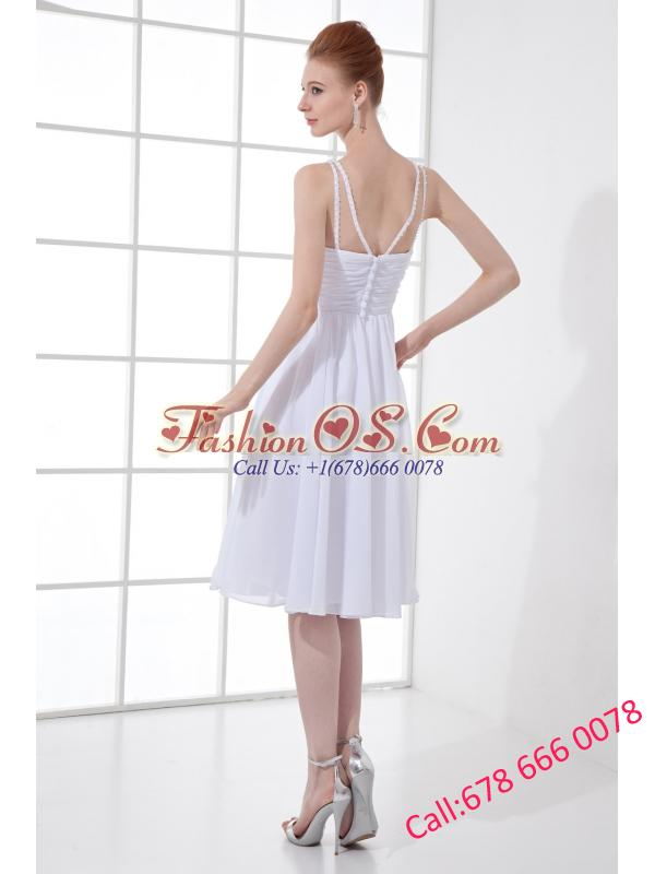 2014 Spring A-line V-neck Knee-length Chiffon Wedding Dress with Ruching
