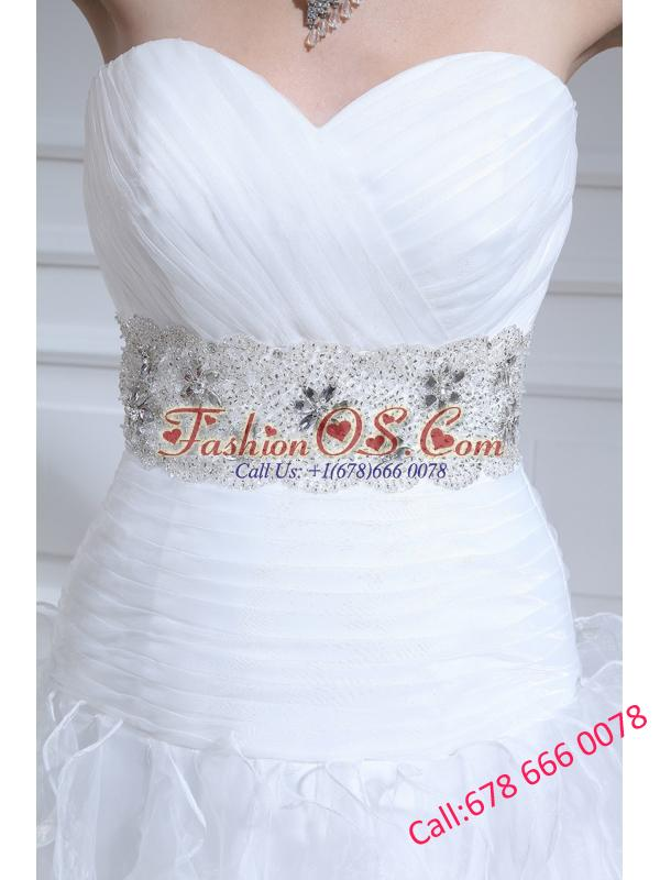 2014 Spring Beautiful A-line Sweetheart Floor-lengthWedding Dress with Ruffles and Appliques