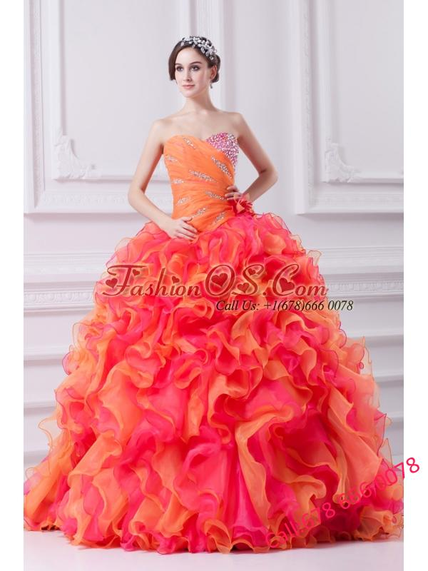 2014 Spring Beautiful Multi-color Sweetheart Beading and Ruching Quinceanera Dress