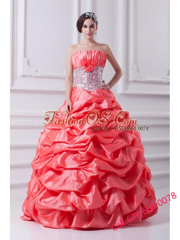 2014 Watermelon Ball Gown Strapless Beading Quinceanera Dress with Side Zipper