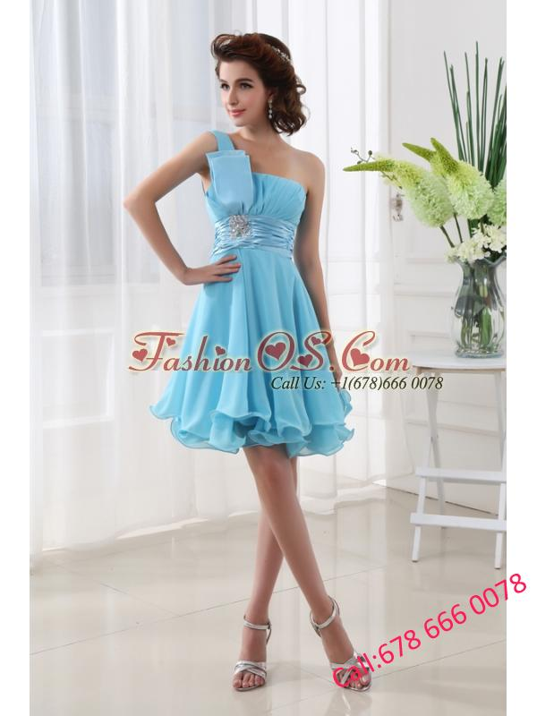 A-line Aqua blue One Shoulder Beading and Ruching Chiffon Prom Dress