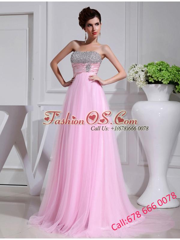 A-line Brush Train Beading Tulle Strapless Baby Pink Prom Dress