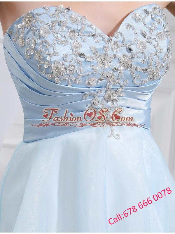 A-line Chiffon Aqqliques Strapless Light Blue Sweatheart Prom Dress