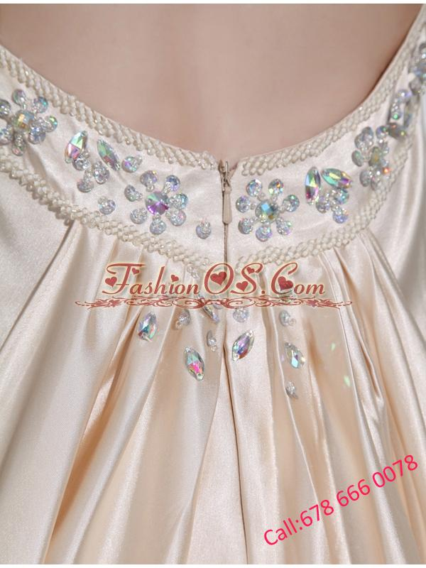 A-line  Halter Top Floor-length Beading Elastic Woven Satin Prom Dress