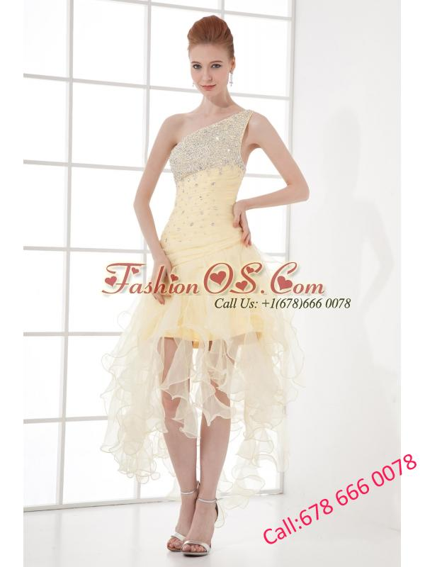 A-line One Shoulder High-low Ruchings Beading Organza Light Yellow Prom Dress