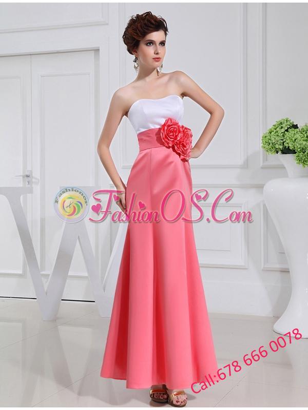 A-line Prom Dress with Hand Made Flowers Swaetheart Taffeta Watermelon