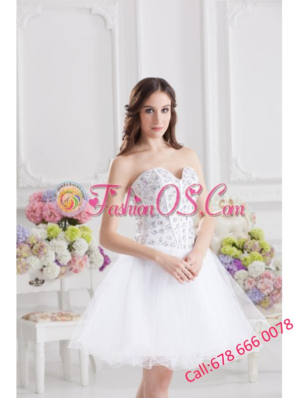 A-line Rhinestone Sweetheart Knee-length Prom Dress in White