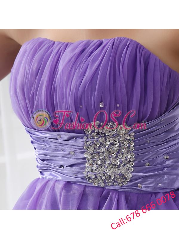 A-line Strapless Beading and Ruching Organza Prom Dress in Blue