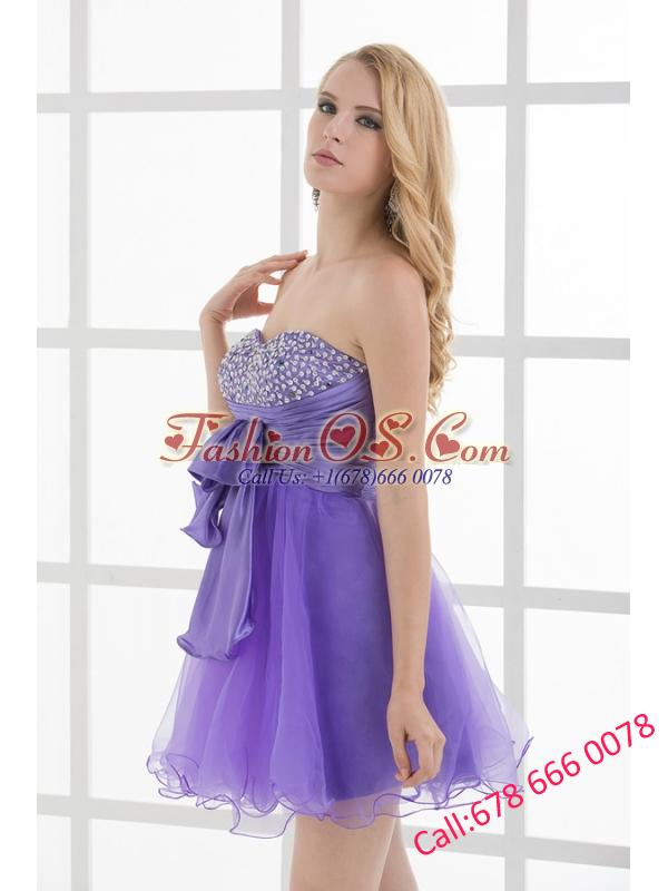 A-line Strapless Sleeveless Beading and Ruching Prom Dress