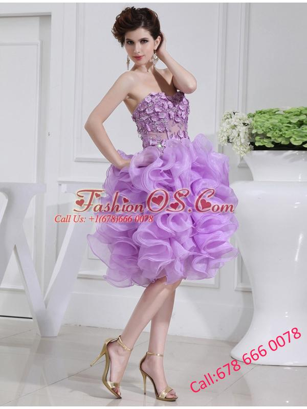 Ball Gown Sweetheart  Hand Made Flower and Applique Organza Prom Dress