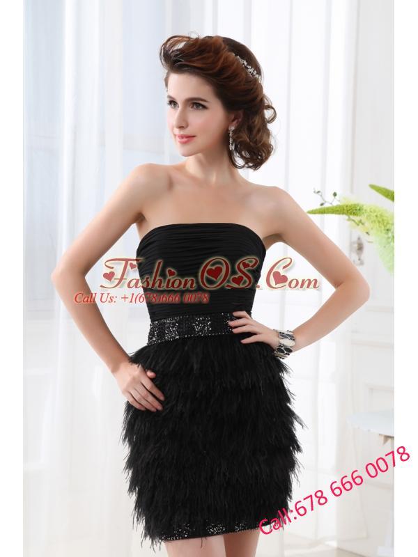 Black Column Strapless Sleeveless Mini-lengthProm Dress with Beading and Ruching