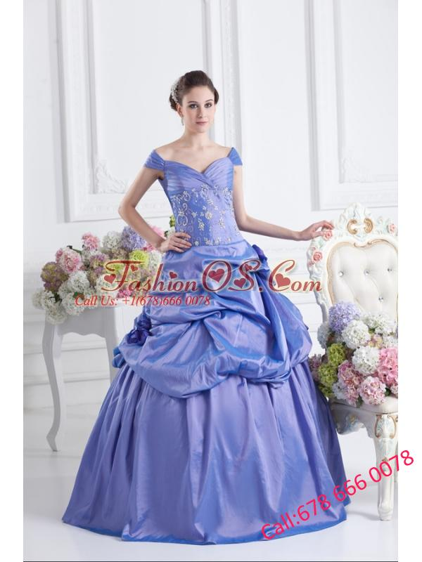 Blue Off The Shoulder Pick-ups Purple Quinceanera Dress with Beading