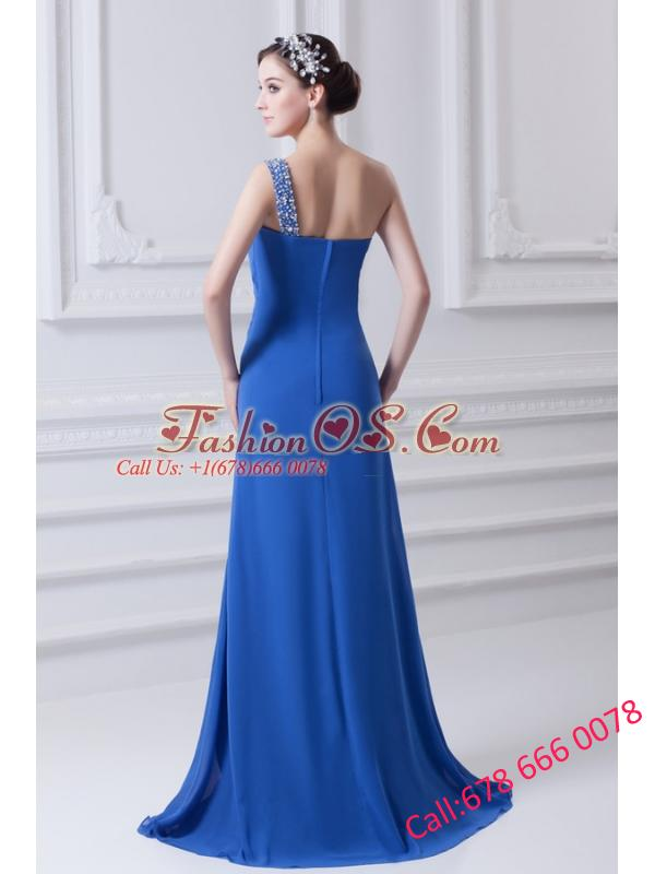 Blue One Shoulder Column Prom Dress with Beading and High Slit