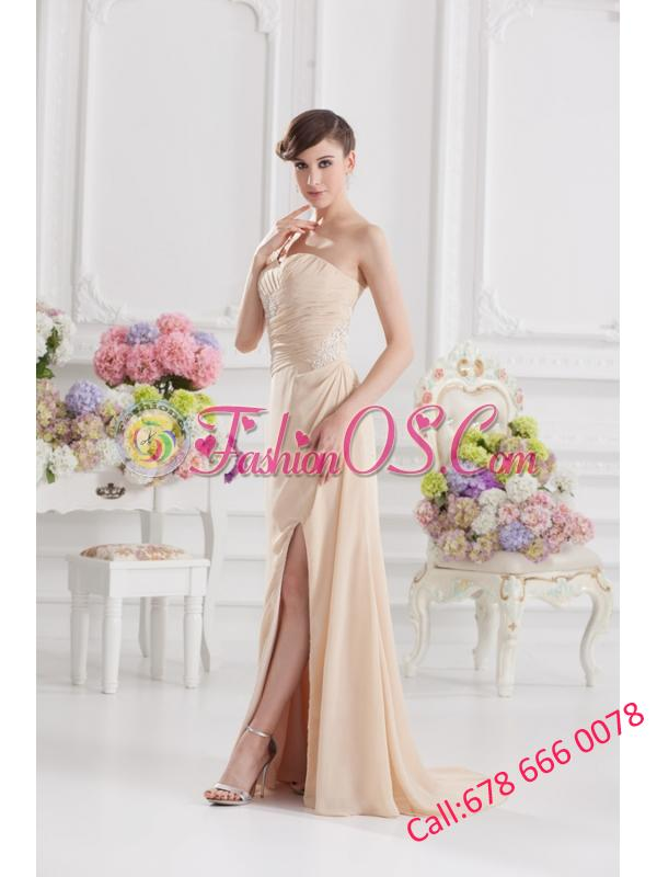 Champagne Empire Prom Dress with Ruching and Appliques
