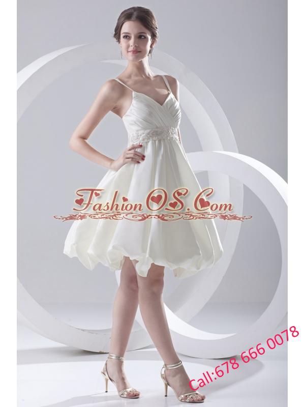 Cheap A-line Spaghetti Straps Knee-length Ruching Satin Wedding Dress