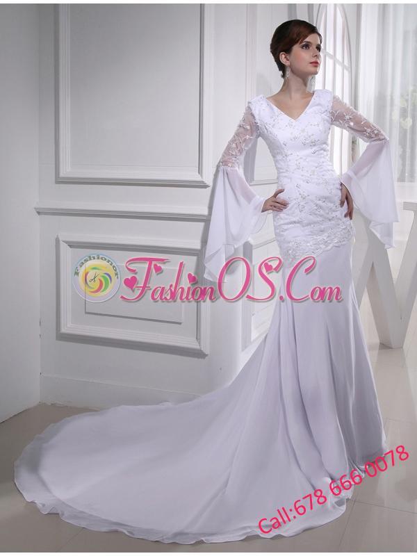 Cheap Column V-neck Lace Chiffon Wedding Dress With Long Sleeves