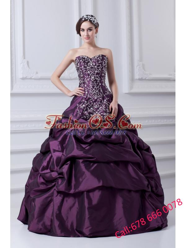 Cheap Eggplant Purple Sweetheart Embroidery and Pick-ups Quinceanera Dress