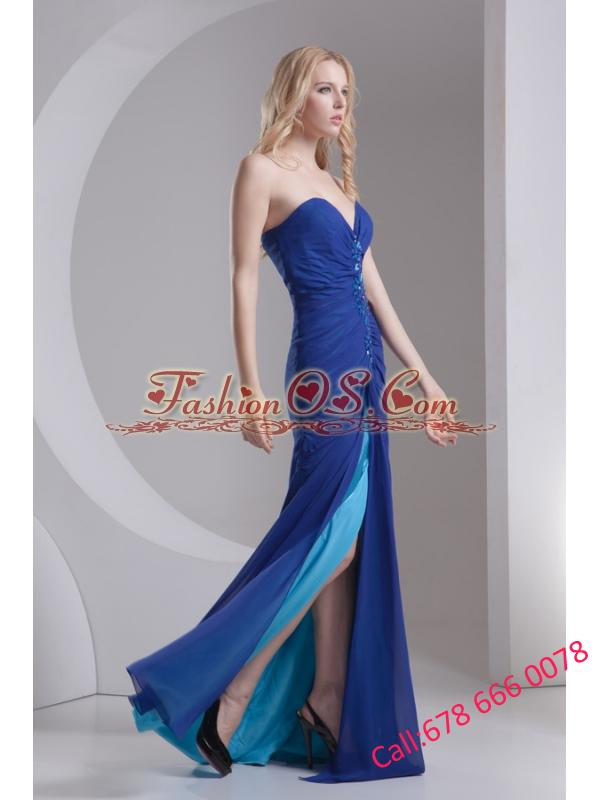 Column Blue Sweetheart Beading High Slit Chiffon Prom Dress
