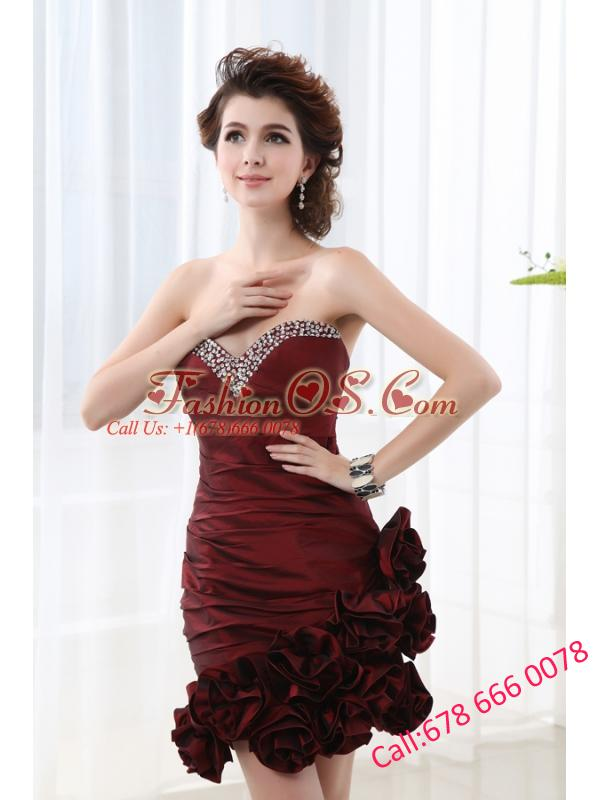 Column Burgundy Beadings Hand Made Flowers Sweetheart Prom  Dress