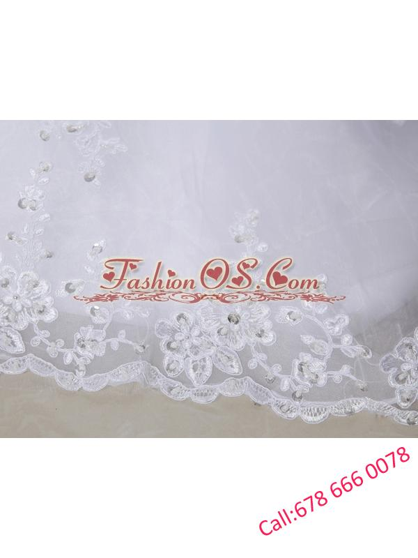 Column Halter Top Chapel Train Lace Appliques  White Wedding Dress
