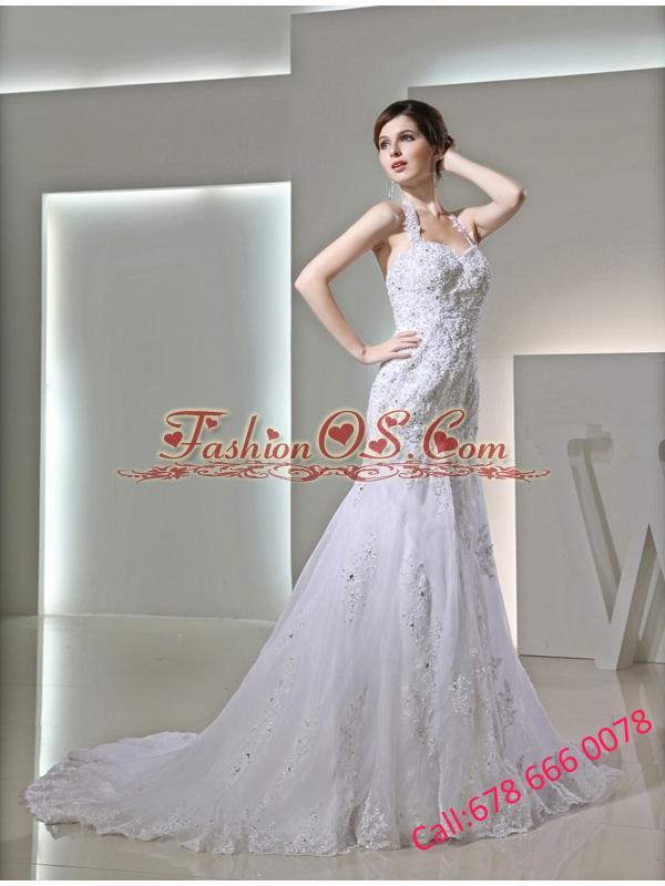 Column Halter Top Chapel Train Lace Appliques  White Wedding Dress