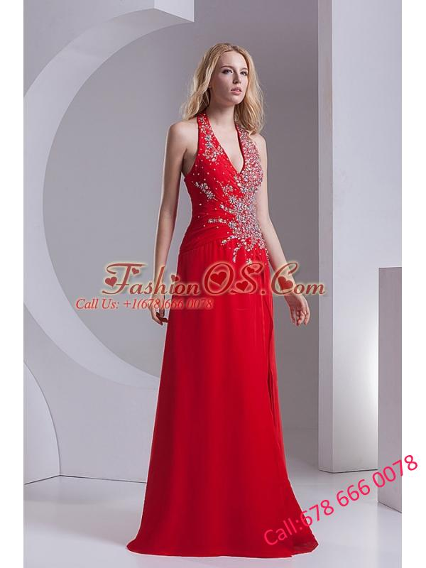 Column Halter Top Chiffon Beading Ruching Red Prom Dress