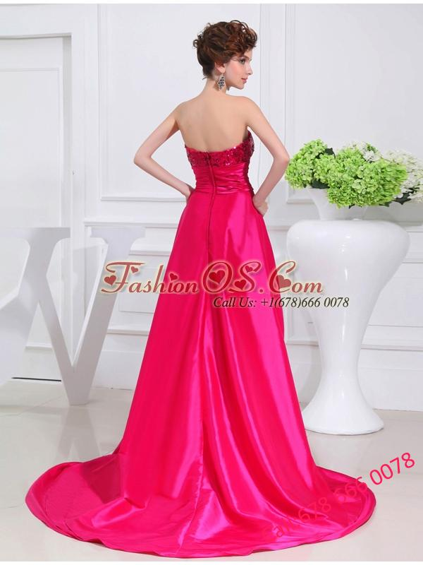 Column Sequins Brush Train Strapsless Hot Pink Prom Dress