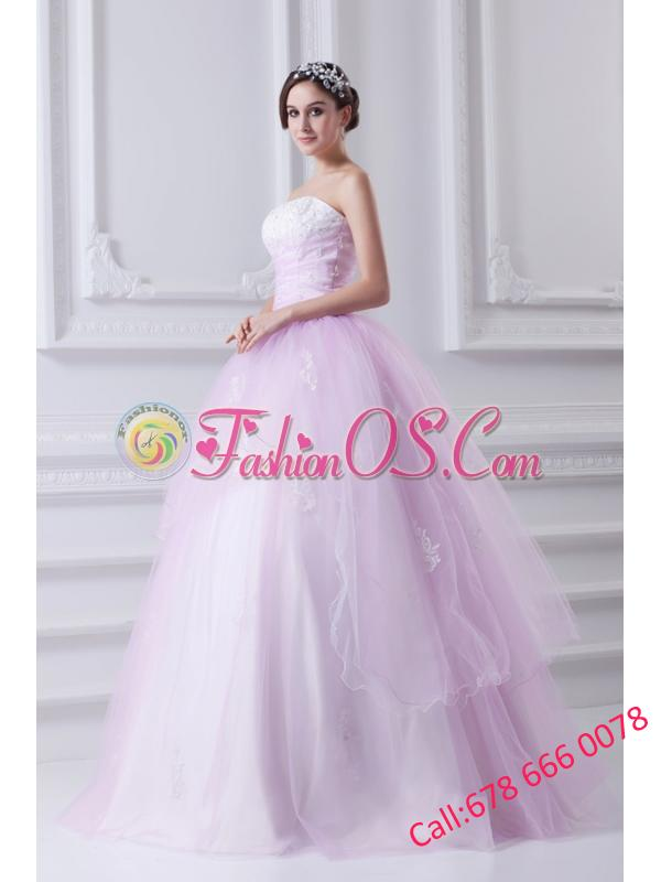 Cute Ball Gown Strapless Beading and Appliques Tulle Baby Pink Quinceanera Dress