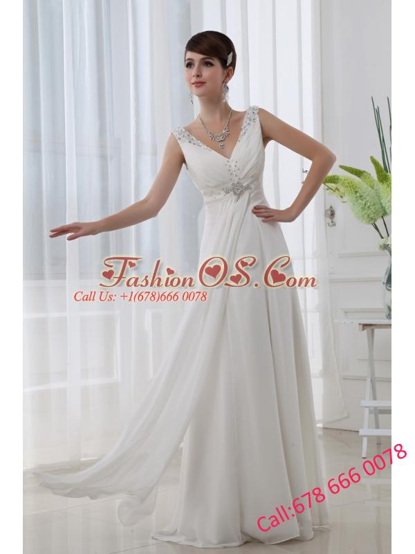 Discount Empire V-neck Floor-length Chiffon White Wedding Dress with Beading