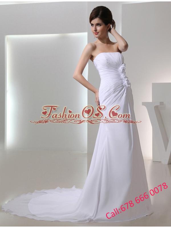 Elegant Column Strapless Court Train Chiffon Ruching White Wedding Dress in 2014