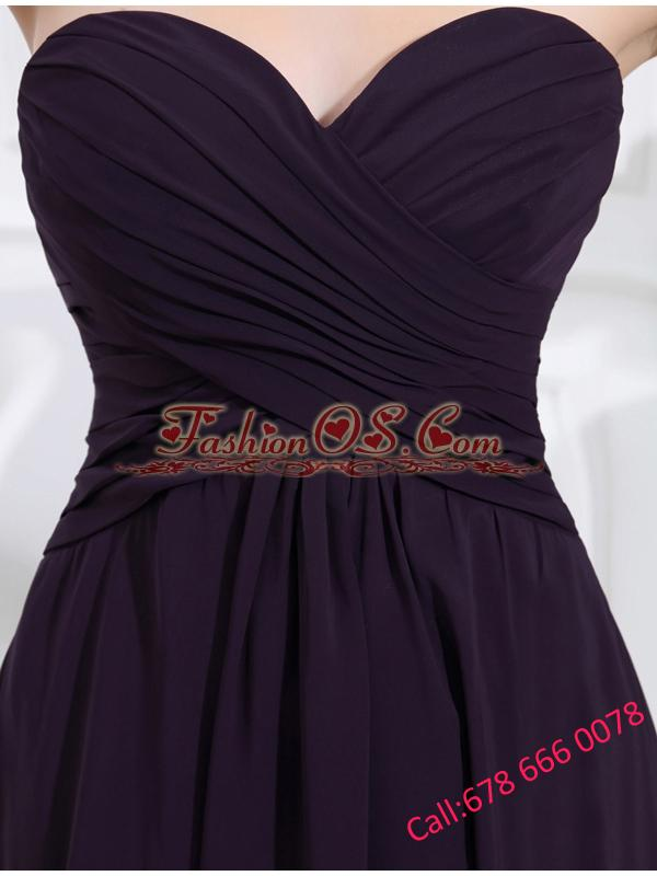 Empire Chiffon Ruching Strapless Dark purple Floor-length Prom Dress