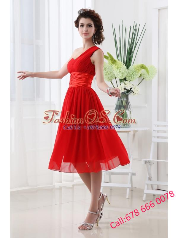 Empire One Shoulder Belt Knee-length Red Prom Dress