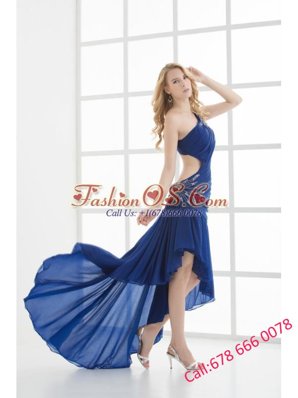 Empire One Shoulder Sleeveless Appliques High-low Prom Dress